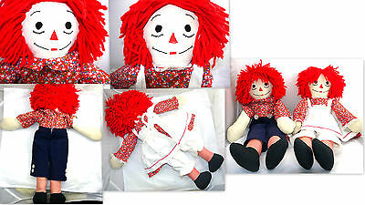 "Old Raggedy Ann & Andy Dolls Sz: 24"" Tall Collectible Clothing & Forward Feet"
