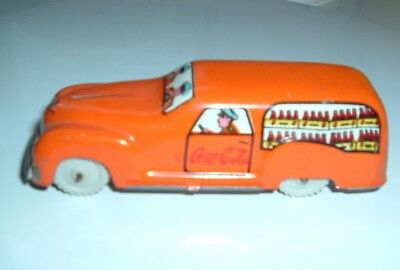 Vintage toy Coca Cola Tin metal old Car 1950's Free shipping in USA!