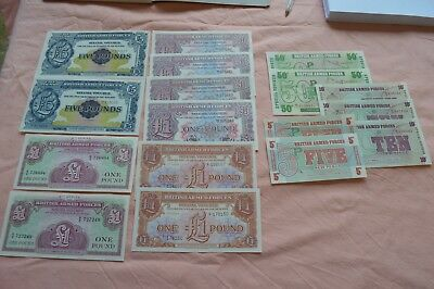 17 x British Armed Forces Banknotes: 2 x £5, 8 x £1, 2 x 50p, 3 x 10p & 2 x 5p