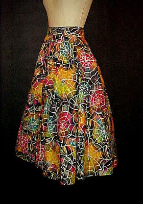 VTG 1950s CIRCLE SKIRT, SPIDER WEB PRINT, COLORFUL, ROCKABILLY, MID CENTURY MOD