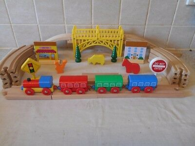 Wooden Train Set With Bridge & Lots Of Extras.