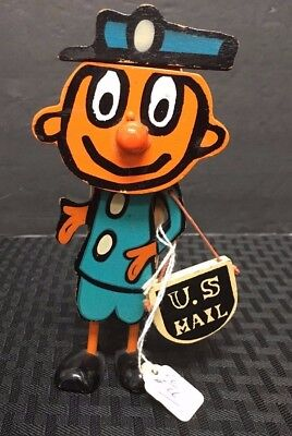 1960S/70S Mr Zip Toy Wooden Puppet Push Toy U.s. Mail *send Me* Japan