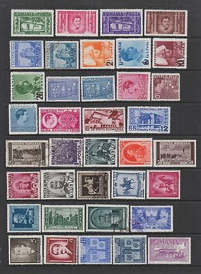 Romania 1937 - 1940 collection , mostly fine MH, 92 stamps