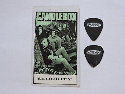 1990s CANDLEBOX CONCERT LAMINATED BACKSTAGE PASS +2 GUITAR PICK ! PETER KLETT !!