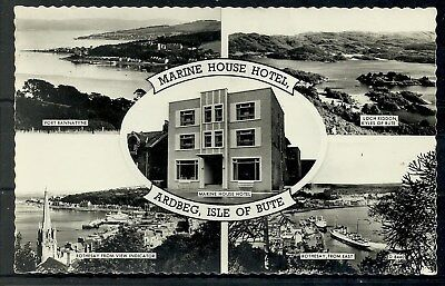 Postcard : Isle of Bute Multi View inc Marine House Hotel Ardbeg RP