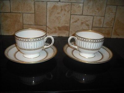Pair of Wedgwood Colonnade Gold Cups and Saucers