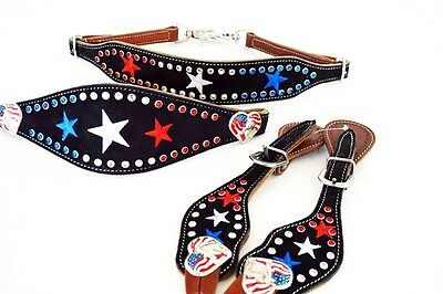 Usa Red White Blue Western Horse Trail Leather Spur Straps Wither Strap Noseband