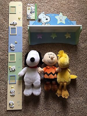 Snoopy / Peanuts Nursery / Kids Room Decor: Shelf, Growth Chart, Switch Cover