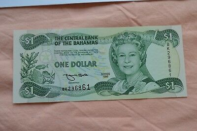 Central Bank of The Bahamas One Dollar $1 Series 1966 BK296861  Lovely Condition