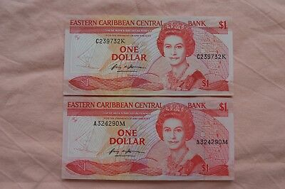 2 x Eastern Caribbean Central Bank One Dollar $1 Banknotes A324290M & C239732K