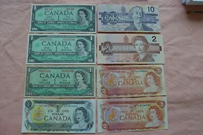 Bank of CANADA: 4 x $1, 3 x $2 & 1 x $10 Dollar - various dates, condition - OK