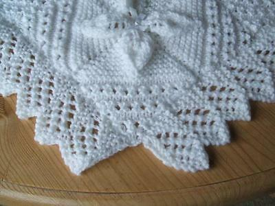 Hand Knitted Baby Shawl/Cot/Pram/Blanket or for Reborn