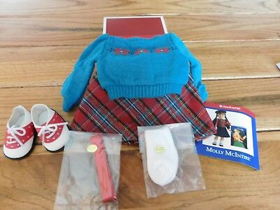 American Girl  Molly Sweater And Skirt Set Teal & Plaid  New In Box Retired