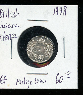 British Guiana 1938 4 Pence EF+ Low Mintage   C197
