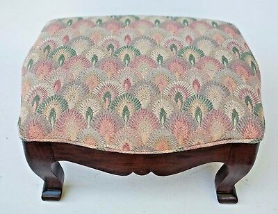 Vintage Queen Anne Style Needlepoint Mahogany Foot Stool on Cabriole Legs
