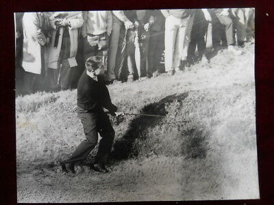 Official Agency Photo, Gary Player chipping out of a bunker, Wentworth, 1964