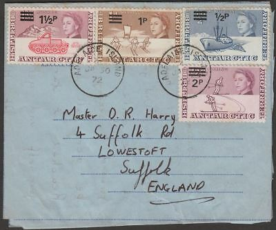 British Antarctic Territory 1972 Surcharges to 2p on Air Letter ADELAIDE IS Pmk