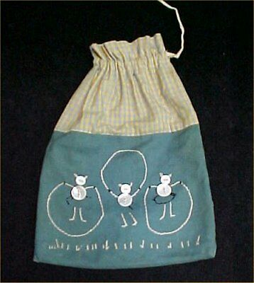 Vintage Antique Child's Purse Sewing Bag Mending Knitting 1940s Button Kitty Cat