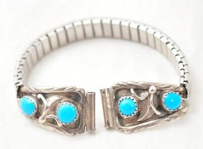 VTG Sterling Silver & Turquoise Native American Ladies Watch Band Signed RB