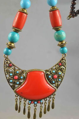 Collectable Handwork Old Boxwood & Boxwood Carve Colorful Flower Lucky Necklace