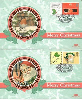 PAIR BENHAM BSSp51-52 CHRISTMAS GENERICS FDC'S 3-10-00each with different SHS F9