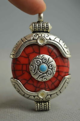 Collectable Handwork Miao Silver Carve Tibetan Totem Inlay Agate Lucky Pendant