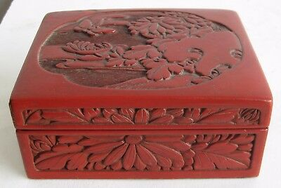 Fine Old Chinese Carved Red Cinnabar Floral Relief Decorated Jewelry Box