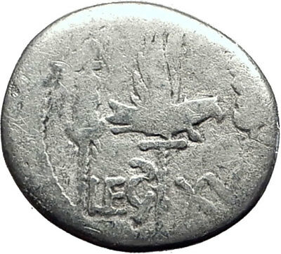 MARK ANTONY Cleopatra Lover 32BC Ancient Silver Roman Coin LEGION XV i64486
