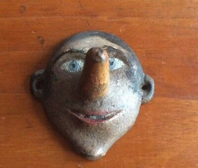 Antique Original Hubley FACE LONG NOSE HOOK CAST IRON WALL MOUNT