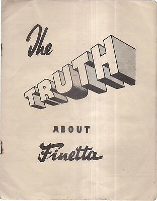 THE TRUTH ABOUT FINETTA..  12 page booklet of 1952 by Haynor Ltd., London camera