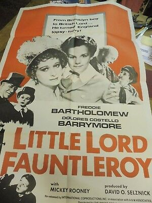 Little Lord Fauntleroy. Mickey Rooney. original Quad film  poster