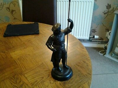 Vintage Spelter Cavalier Type Figure Holdind Spear  15 Inches Tall