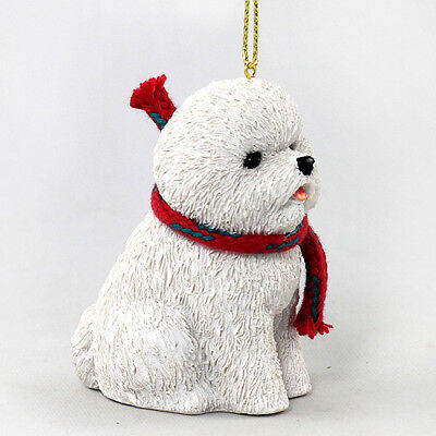 Bichon Frise Dog Christmas Ornament Figurine w/ Scarf