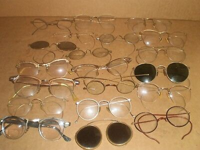 Vintage Eyeglass Lot of 20. Wire Rim & Others, Very OId, Eyeglasses, Sunglasses