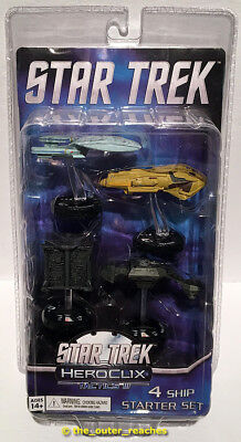 STAR TREK HeroClix Tactics III 4-Ship Starter Set w/ Enterprise-D, Worn Package