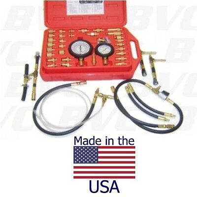 """Made in USA Professional Master Fuel Injection Pressure Tester Kit -3 1/2"""" Gauge"""