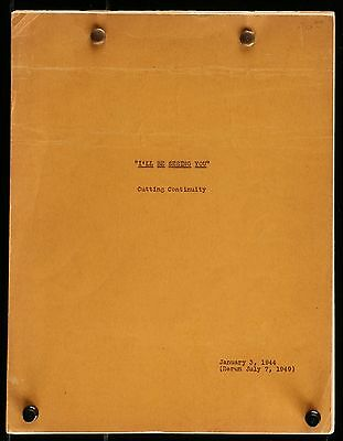 Ginger Rogers Shirley Temple I'll Be Seeing You ORIGINAL 1949 CUTTING SCRIPT
