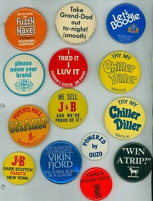 14 Vintage 1970s-90s Assorted Scotch Whiskey Advertising Pinback Buttons - J & B