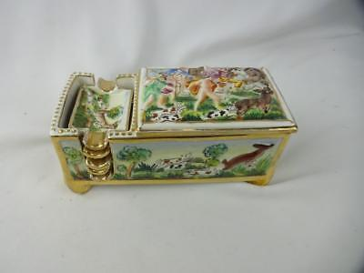 Vintage Signed Capodimonte Cigarette Box w/ 5 Ash Trays - Hounds & Stag