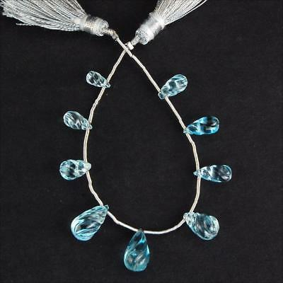 31 Cts/9 Pcs Top Quality Natual Swiss Blue Topaz Hand Carved Drilled Briolettes