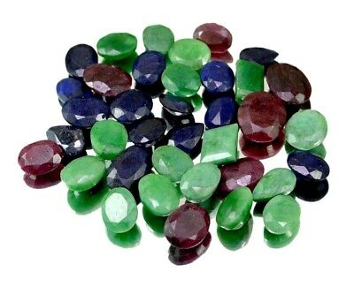 330ct /37pcs Natural Emerald Ruby Sapphire Ring Size Gemstone Wholesale Lot