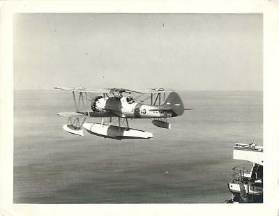 1935 Vought O3U Corsair Floatplane Catapulted from USS ARKANSAS Press Photo