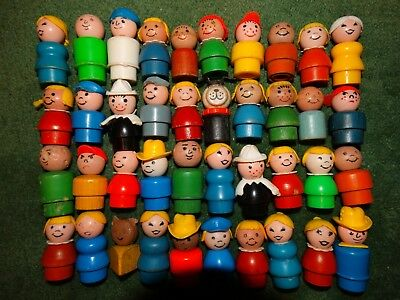 Vintage Fisher-Price Little People Lot of 40 Wood and Plastic Great Variety!