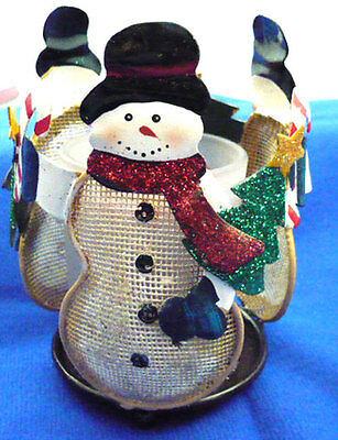 Russ circle mesh snowman candle holder in original box