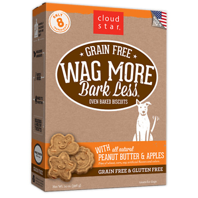 Cloud Star Wag More Bark Less Grain FREE Peanut Butter & Apple Dog Treat 14 oz