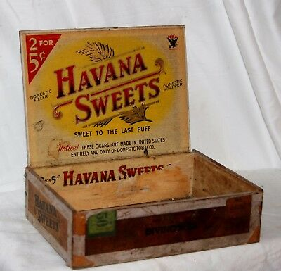 VINTAGE 1930's-40's HAVANA SWEETS WOODEN CIGAR BOX SOUND WITH AGE & WEAR