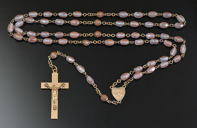 Very Rare Quality  ANTIQUE SAPHIRET GLASS Rosary on GOLD PLATED NR