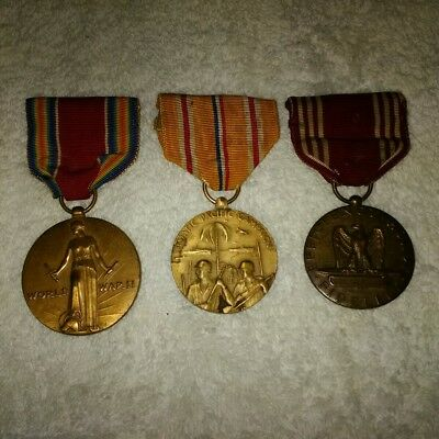 ww2 victory , good conduct and pacific theater service medals