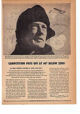 """1956 Rear Admiral Byrd """"Competition at 60 Below"""" API Vintage Print Advertisement"""