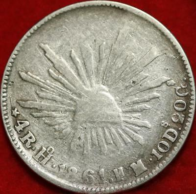 1861 Mexico 4 Reales Silver Foreign Coin Free S/H